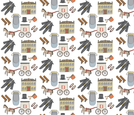 Jane Austen Theme Pattern fabric by mintparcel on Spoonflower - custom fabric