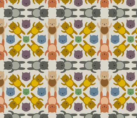 Colorful Kittens fabric by mintparcel on Spoonflower - custom fabric