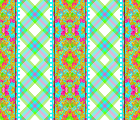 Intersection of Rippled Plaids and Mirrored Fractals fabric by anniedeb on Spoonflower - custom fabric