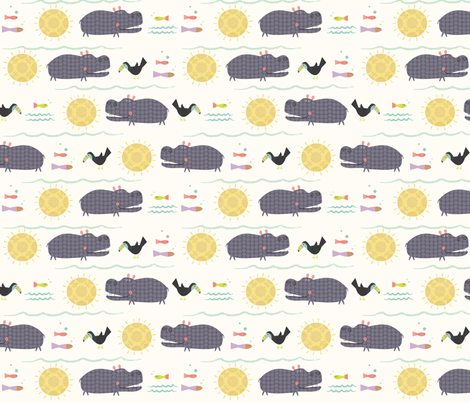 Hippos fabric by redfish on Spoonflower - custom fabric