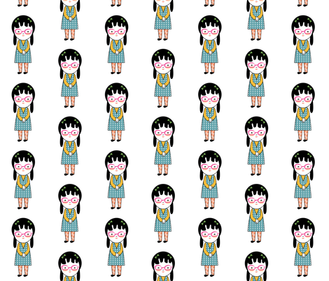 Geek Chic Blue Dress fabric by mintparcel on Spoonflower - custom fabric