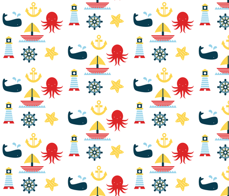 Sailing Pattern fabric by mintparcel on Spoonflower - custom fabric