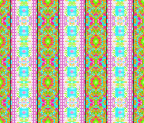 Grids and Fractal Waves in a Mirror Repeat (vertical  fancy stripe) fabric by anniedeb on Spoonflower - custom fabric