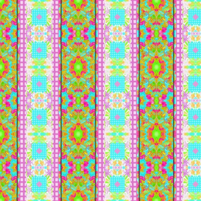 Grids and Fractal Waves in a Mirror Repeat (vertical  fancy stripe)