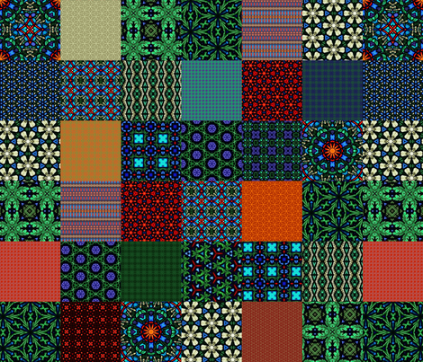 """Shandon Beauties Cheater Quilt - 3"""" Squares fabric by stitchinspiration on Spoonflower - custom fabric"""