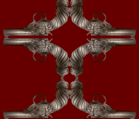 steampunk-gun-maroon fabric by boneyfied on Spoonflower - custom fabric