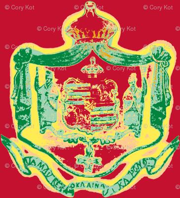 Hawaiian shield crest Warhol-rasta