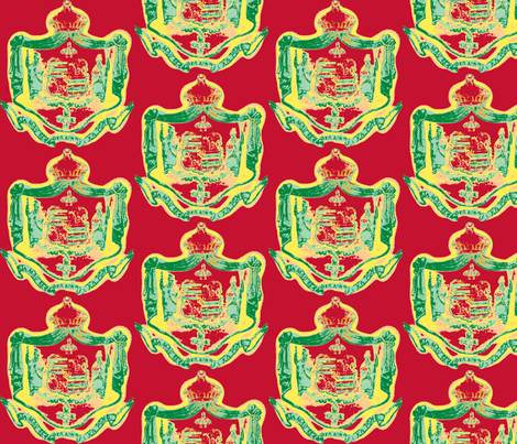 Hawaiian shield crest Warhol-rasta fabric by waiomaotiki on Spoonflower - custom fabric