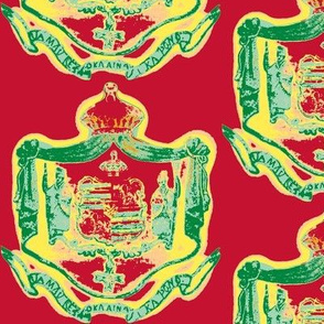 Hawaiian shield crest Warhol-rasta
