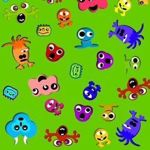 monsters green background