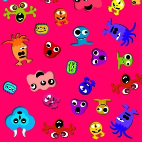 monsters-pink background