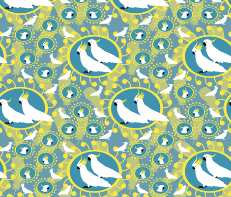 Sulfer Crested Cockatoos - Solid Background (no feathers) fabric by rubydoor on Spoonflower - custom fabric