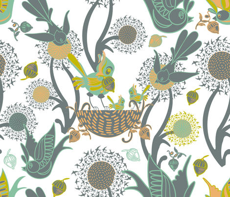 Birds and Nests (White) fabric by chickoteria on Spoonflower - custom fabric