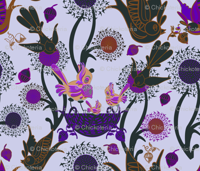 Birds and Nests (Purple)