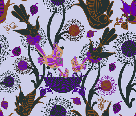 Birds and Nests (Purple) fabric by chickoteria on Spoonflower - custom fabric