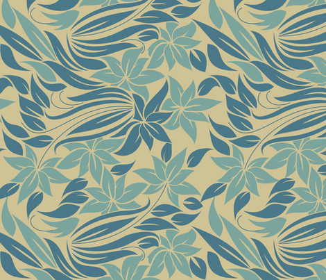 tender flowers in blue fabric by anastasiia-ku on Spoonflower - custom fabric