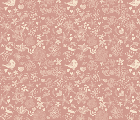 flowers, hearts, and birds in pink fabric by anastasiia-ku on Spoonflower - custom fabric