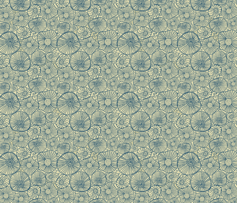 abstract blue flowers fabric by anastasiia-ku on Spoonflower - custom fabric