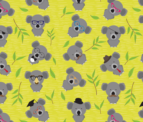Incognito Koala (AKA Dropbear) fabric by house_of_henry on Spoonflower - custom fabric