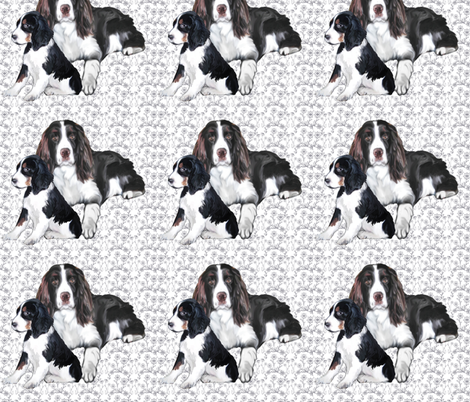 Springer Spaniel Adult and Puppy fabric by dogdaze_ on Spoonflower - custom fabric