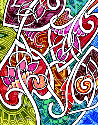 Paint Explosion in the Art Nouveau Coloring Book (bright, bold abstract)