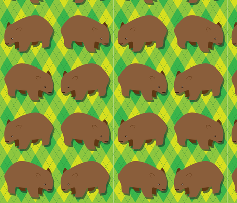 Wombat Argyle fabric by mawaridi on Spoonflower - custom fabric