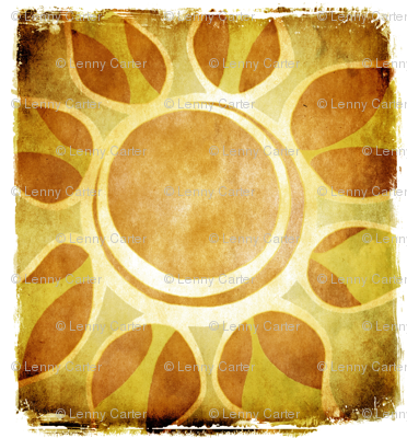 Multi - Layout of Golden Yellow Sun Flower Illustration - Batik Style