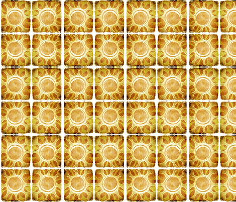 Multi - Layout of Golden Yellow Sun Flower Illustration - Batik Style fabric by runnycustard on Spoonflower - custom fabric