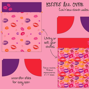 Kisses All Over Cut & Sew Clutch Purse