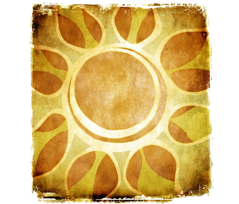 Golden Yellow Sun Flower Illustration - Batik Style fabric by runnycustard on Spoonflower - custom fabric