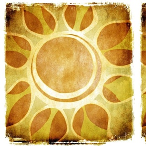 Golden Yellow Sun Flower Illustration - Batik Style
