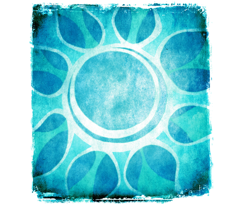 Cool Blue Flower Illustration - Batik style.