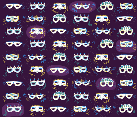Mardi Gras Masks fabric by elizabethdoyle on Spoonflower - custom fabric