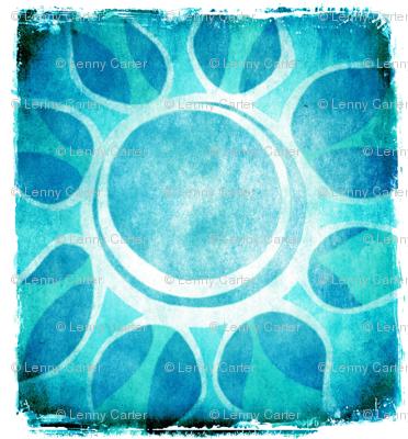 Cool Blue Flower Illustration - Batik style.