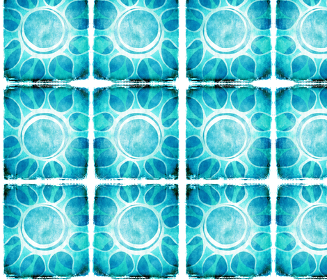 Cool Blue Flower Illustration - Batik style. fabric by runnycustard on Spoonflower - custom fabric