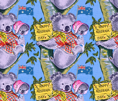 Australia Day Koalas © Seasparkles 2013  fabric by seasparkles on Spoonflower - custom fabric