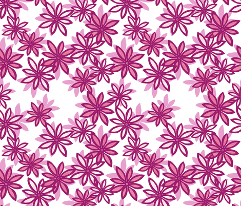 Random Flower Pattern in layers - pink shades fabric by martaharvey on Spoonflower - custom fabric