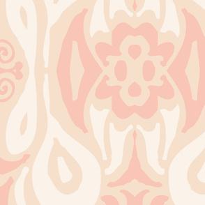 damask soft peony peach pattern