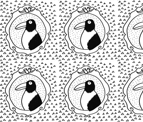 Mrs Magpie's Portrait fabric by durban on Spoonflower - custom fabric