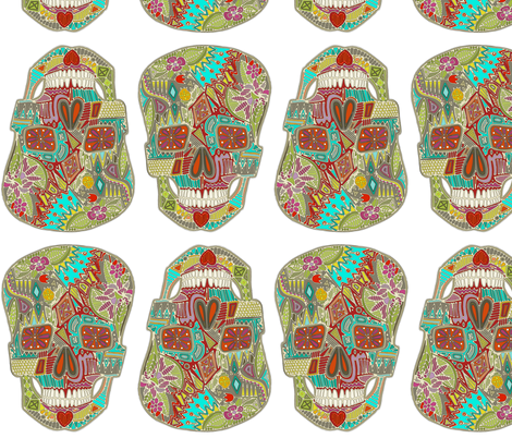 flower skulls white fabric by scrummy on Spoonflower - custom fabric