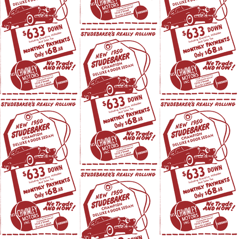 new 1950 Studebaker Champion advertisement Sacramento CA fabric by edsel2084 on Spoonflower - custom fabric