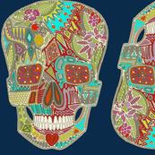 flower skulls blue