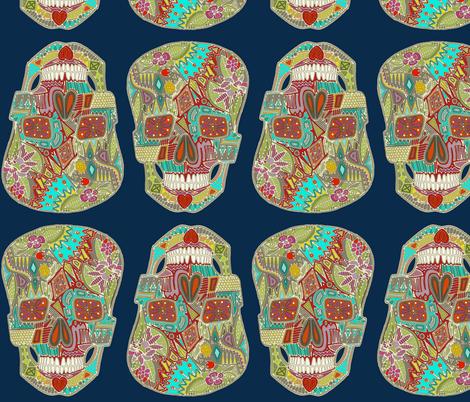 flower skulls blue fabric by scrummy on Spoonflower - custom fabric
