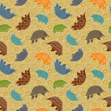 Tossed Anteaters in the Dreamtime fabric by vo_aka_virginiao on Spoonflower - custom fabric