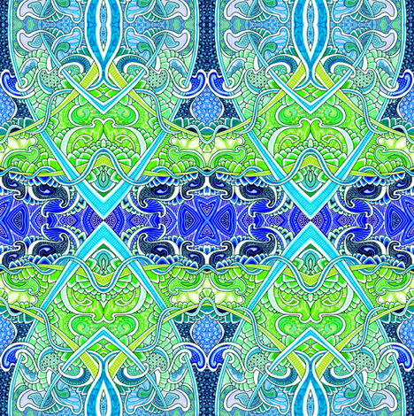 Festival in Blue and Green fabric by edsel2084 on Spoonflower - custom fabric