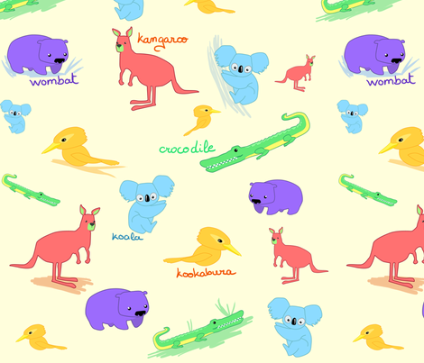australianAnimals fabric by kitshyju on Spoonflower - custom fabric
