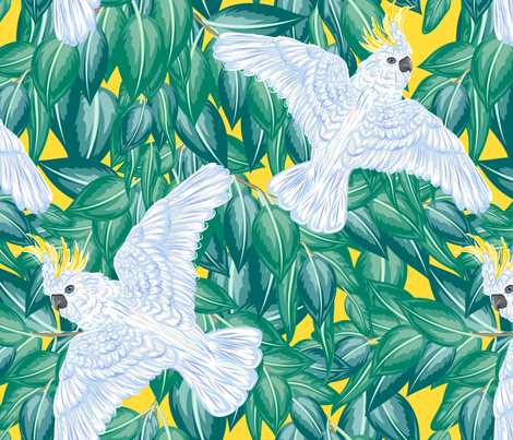 Sulphur Crested Cockatoo And Leaves fabric by diane555 on Spoonflower - custom fabric