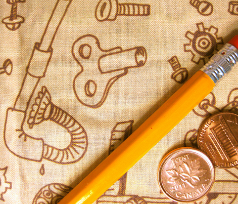Steampunk Parts: Hand-drawn Sepia Small Ditsy