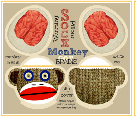 GOT BRAINS! Sock Monkey / Monty fabric by paragonstudios on Spoonflower - custom fabric