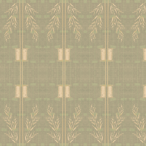 Deco wheat stripe - subtle shades of grey, pale green and pink fabric by materialsgirl on Spoonflower - custom fabric
